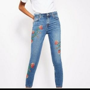 Top Shop Moto Jaime Embroidered Jeans W 25